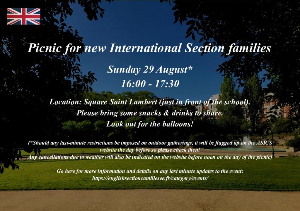 Welcome picnic for new families